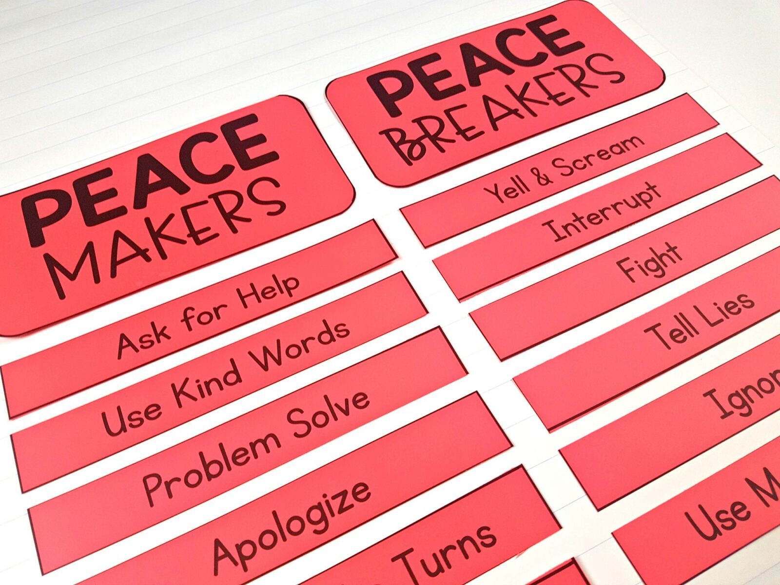 peace makers and peace breakers sorting cards on chart