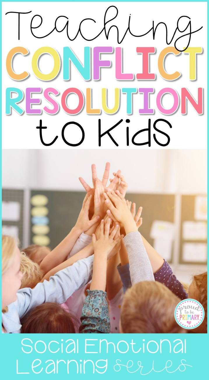 Ideas for teaching conflict resolution in the classroom. Effective social responsibility strategies to teach kids to solve problems peacefully and resolve conflicts independently. #responsibility #classroommanagement #charactereducation #socialskills #socialresponsibility #socialemotionallearning #conflictresolution #responsibilityactivities #teacherfreebie