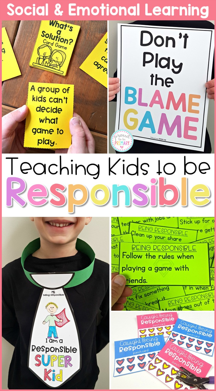 teaching kids to be responsible collage of pictures in action