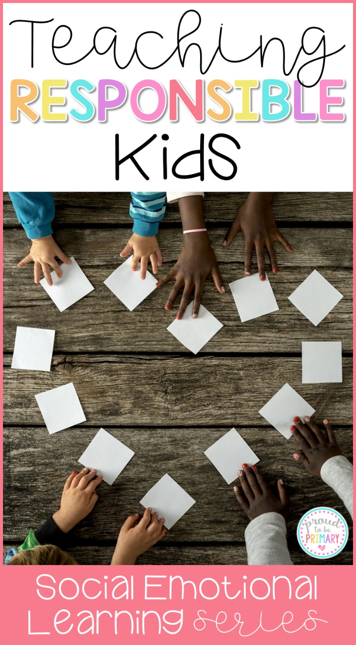 Ideas for teaching responsibility in the classroom. Effective social responsibility strategies to teach kids to be responsible, make good choices and set goals. #responsibility #classroommanagement #charactereducation #socialskills #socialresponsibility #socialemotionallearning #teachingresponsibility #responsibilityactivities #teacherfreebie