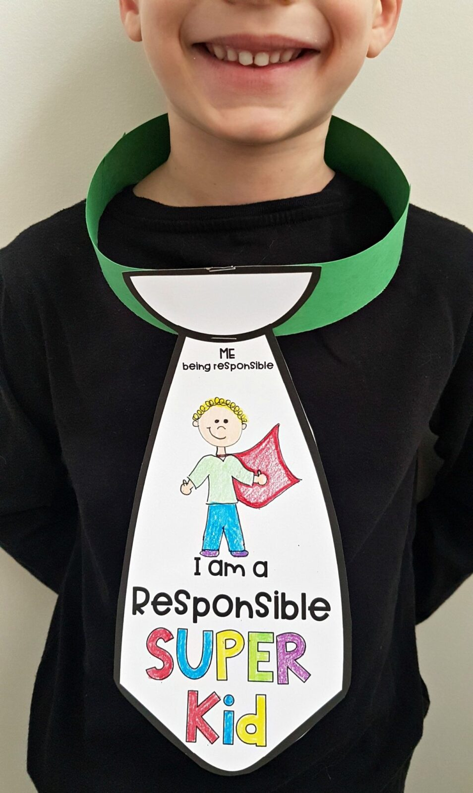 teaching responsibility - I am a responsible super kid tie