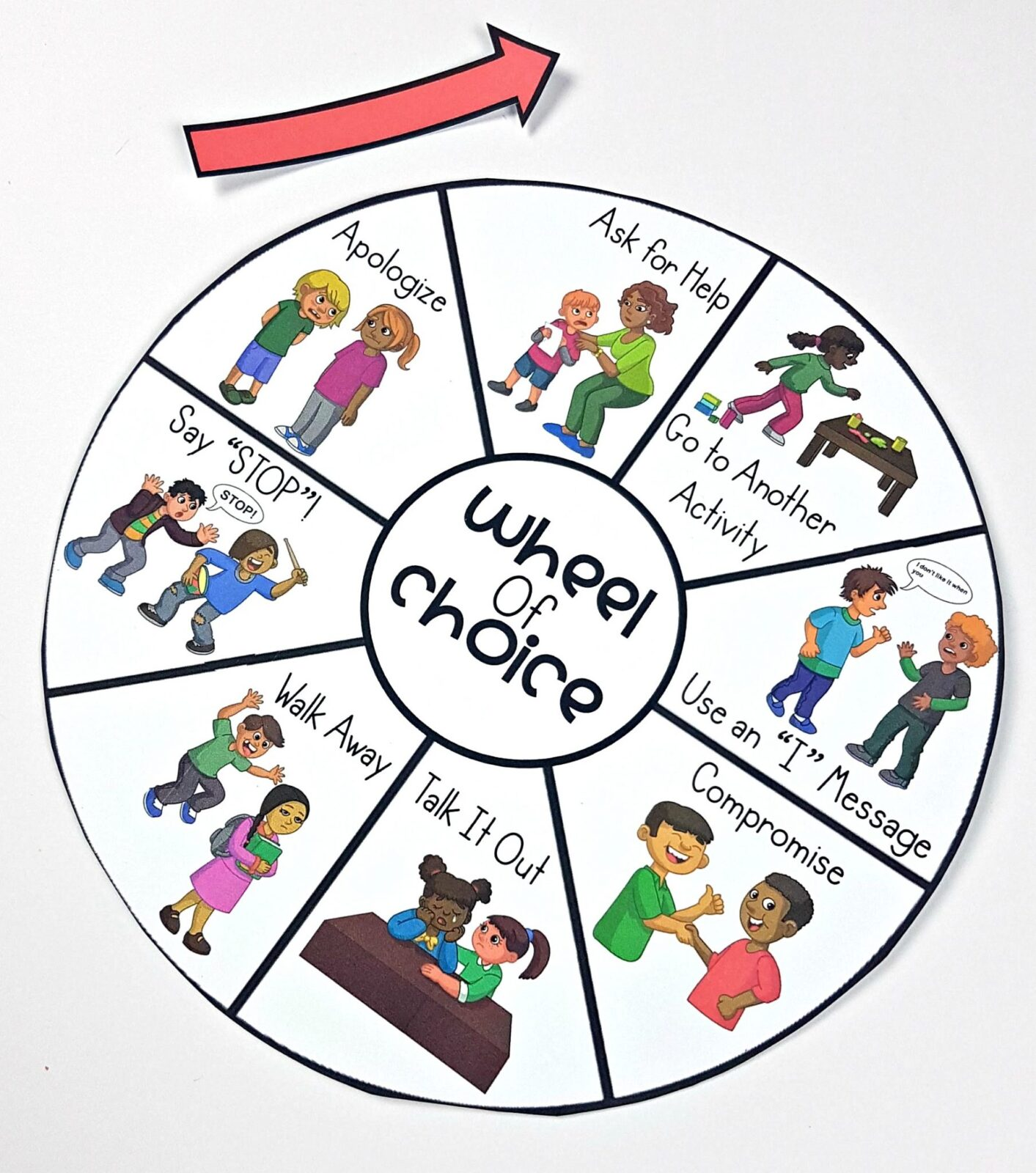 conflict resolution activities - wheel of choice ways to solve problems