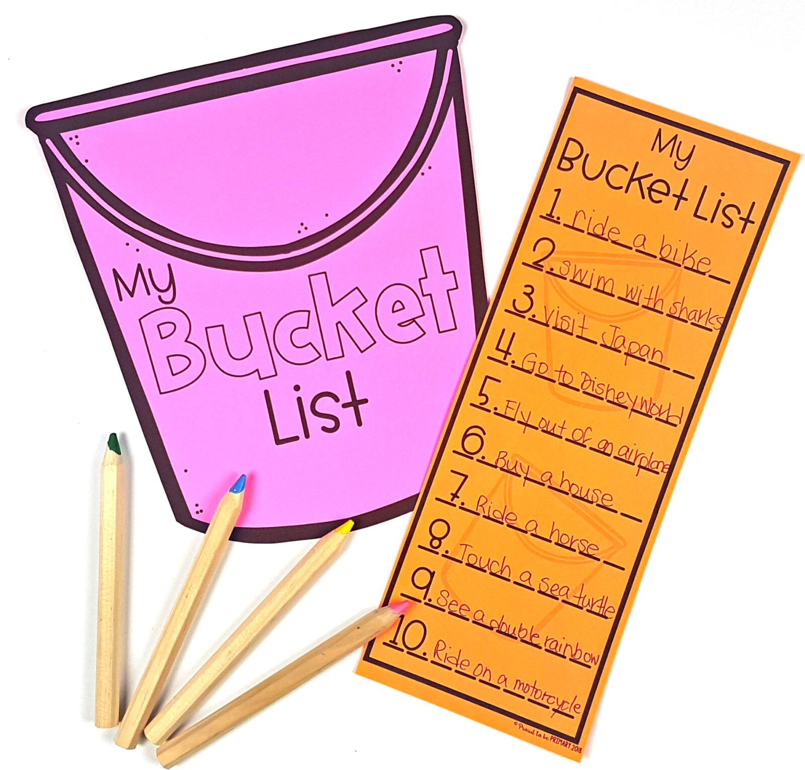 bucket list craft and pencil crayons