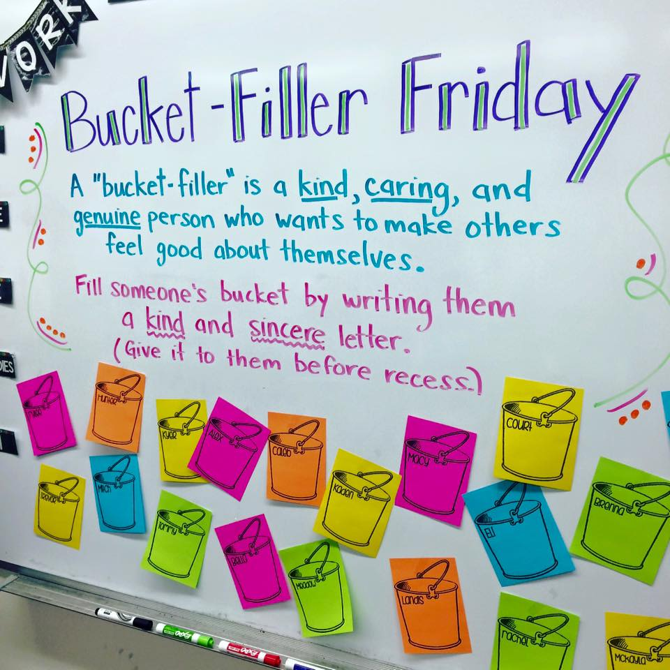 bucket filler Friday whiteboard activities by Miss 5th