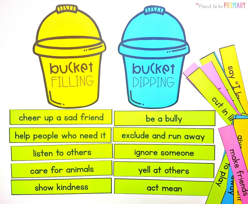 bucket filling and bucket dipping sort by Proud to be Primary