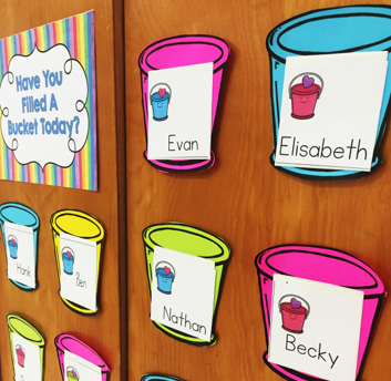 Bucket filler display with buckets by Hanging Around in Primary