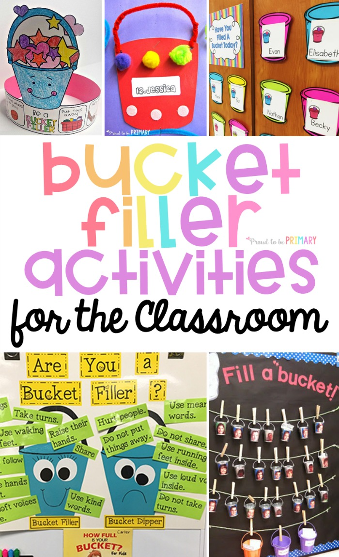 collage of bucket filler activities for the classroom