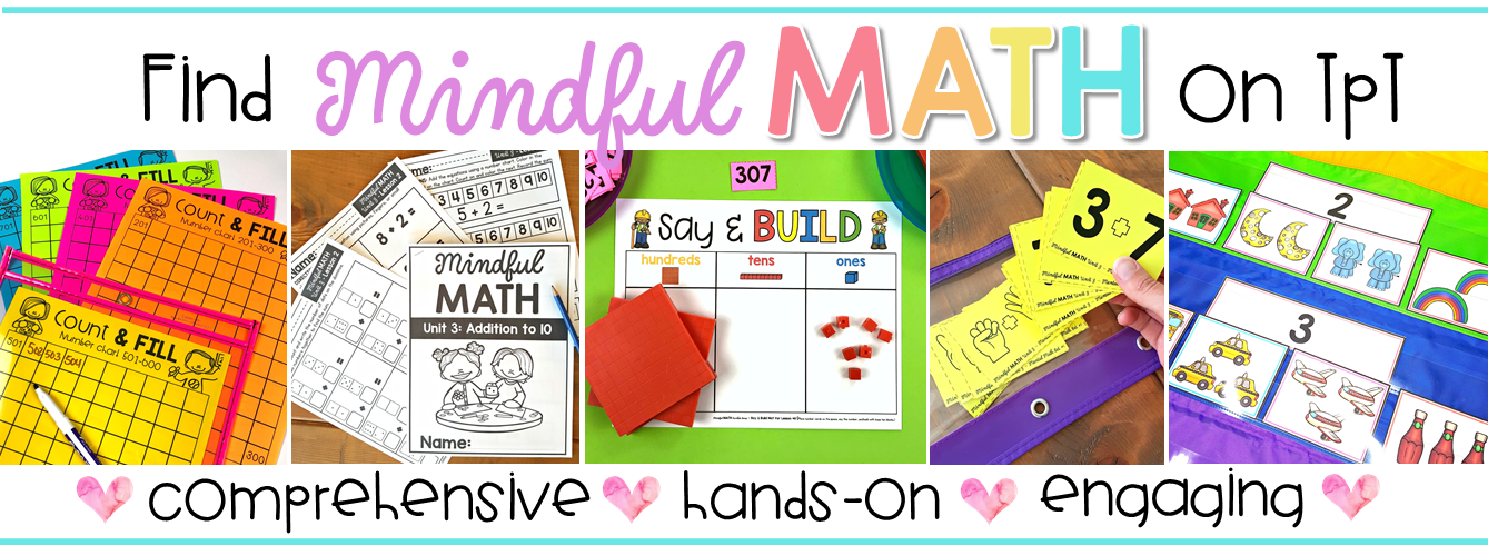 mindful math curriculum for kindergarten, first grade, and second grade