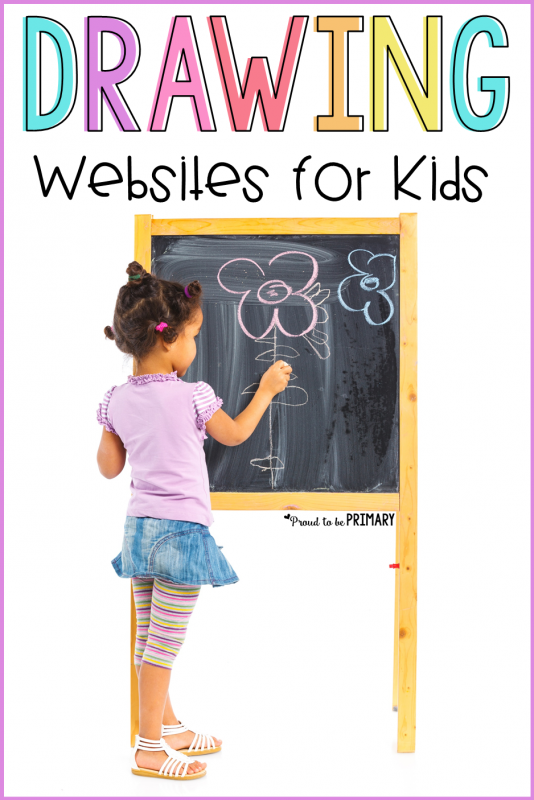 girl learning to draw on the chalkboard - drawing websites for kids