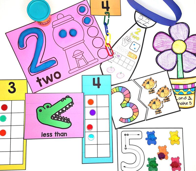 hands-on math activities and centers to teach kindergarten numbers to 5