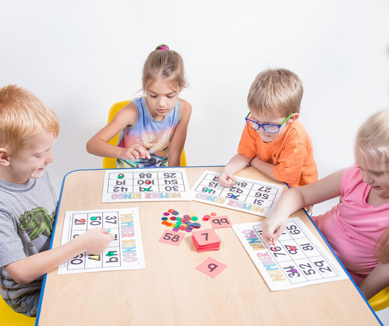 number bingo math game to practice counting and identifying numbers to 100