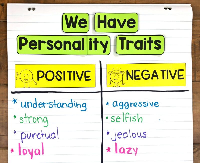 social-emotional learning lesson anchor chart on personality traits