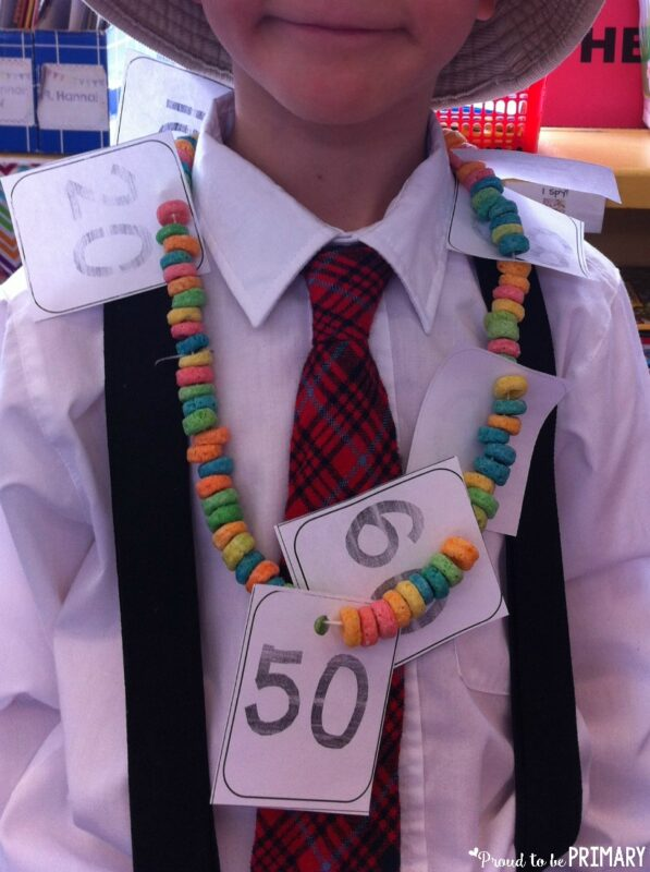 count by 10s to 100 on a fruitloop necklace