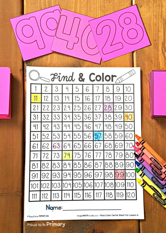 find and color numbers on a hundred chart