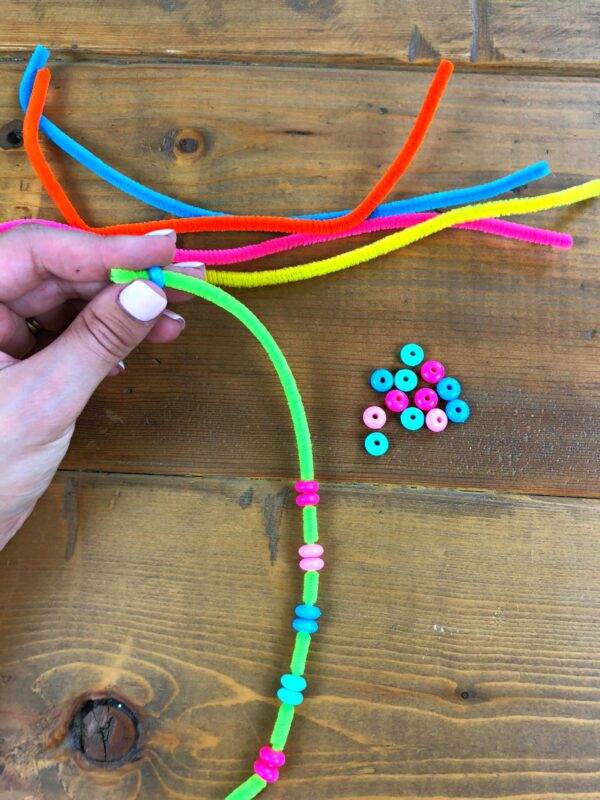 counting by 2s using pipe cleaners and beads