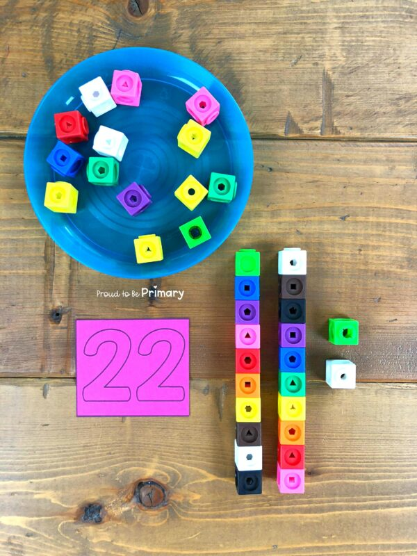 place value to 100 using snap cubes