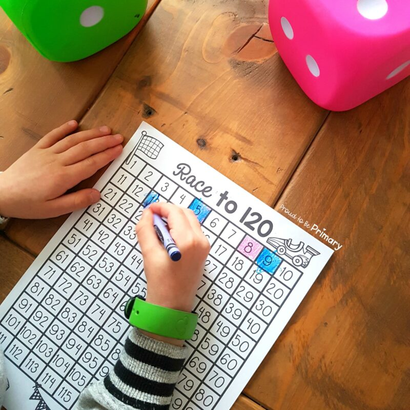 100 days of school idea: race to 120 math game