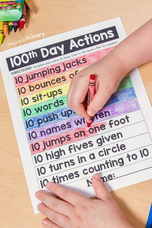 100 days of school idea: 100th day actions activities
