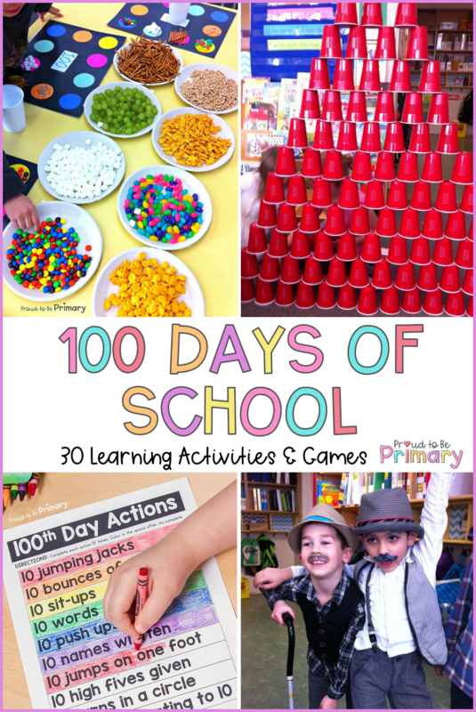 100 days of school ideas, activities, and games for the classroom