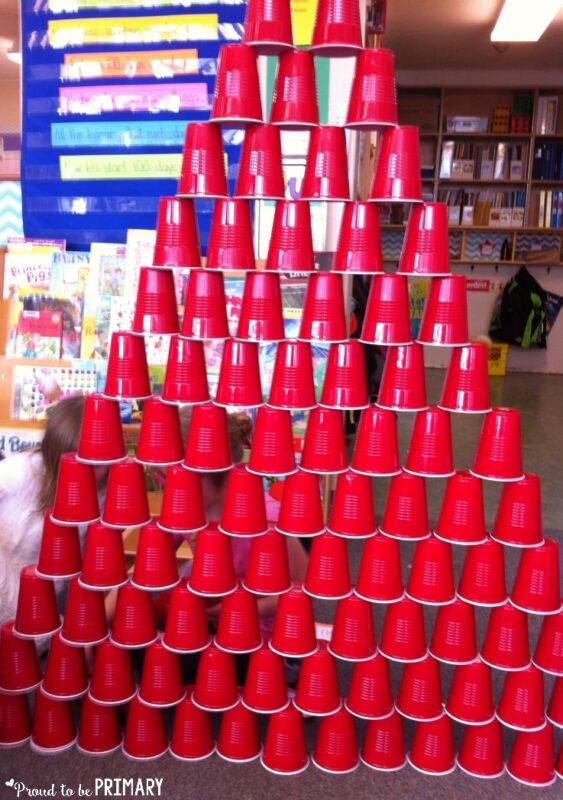 100 days of school idea: cup tower