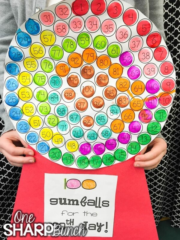 one sharp bunch's 100 gumball for the 100th day activity