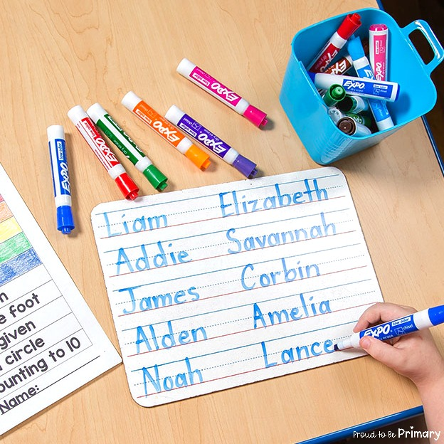 100 days of school idea: writing name in one hundred seconds