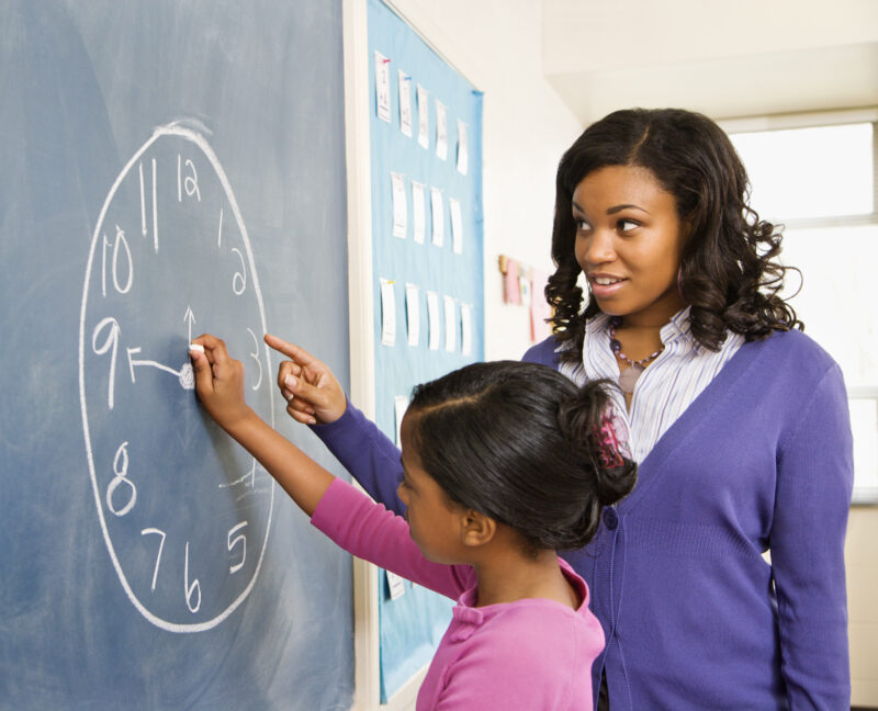 Telling Time Activities drawing clock on chalkboard