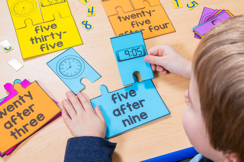 telling time activity with puzzles