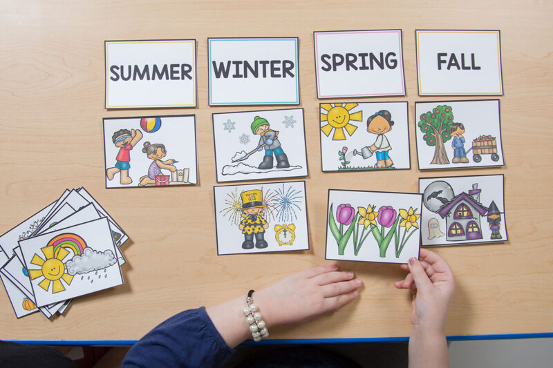 telling time activity - season card sort