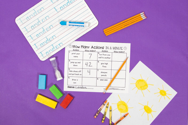 telling time activity - how many actions in a minute