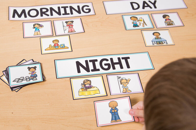 Telling Time Activities for Kids learning to tell time by sorting cards into morning, day, or night