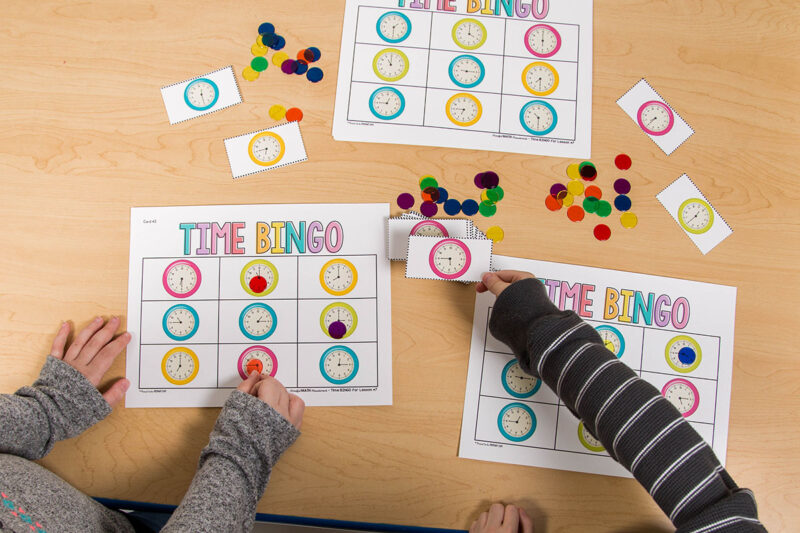 telling time activity - time bingo math game