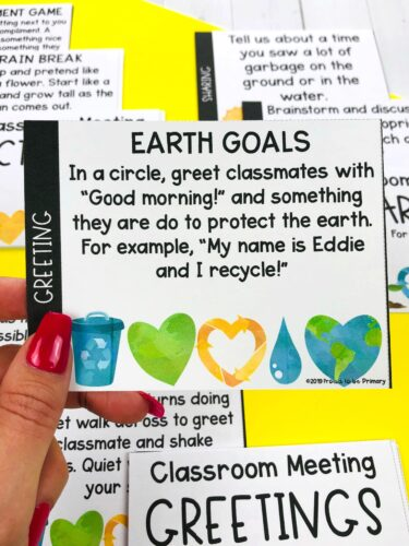 greeting morning meeting card for april earth goals