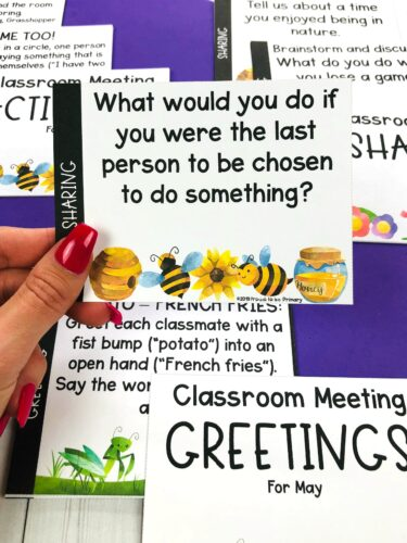 may sharing morning meeting cards
