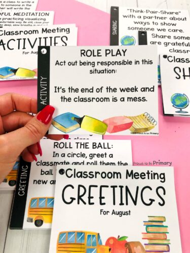 august back to school morning meeting activity cards role play