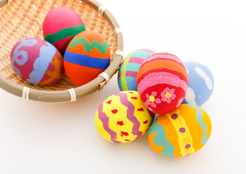 basket of painted easter eggs