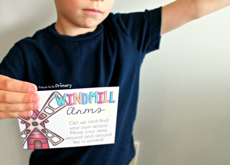 activities cards with brain break ideas for kids