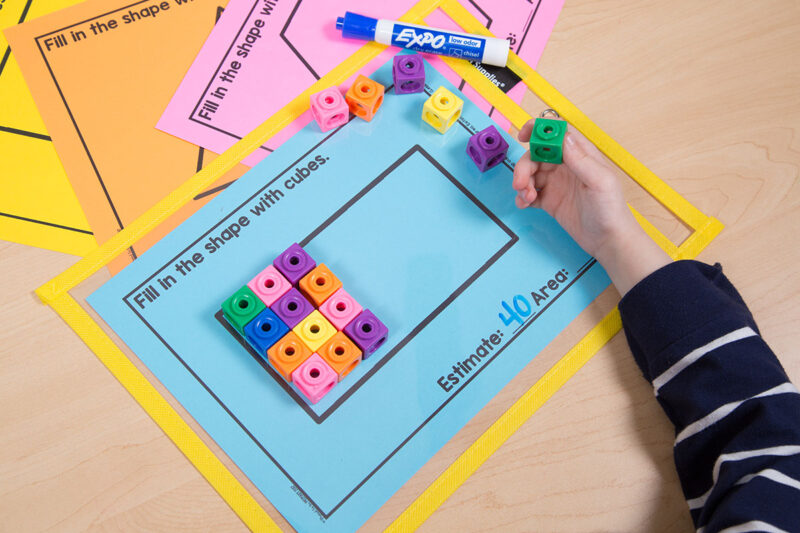 first grade area measurement activity with shapes